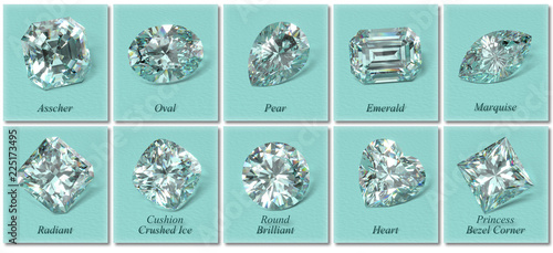 Ten the most popular diamond shapes with labels on tiffany blue background Canvas Print