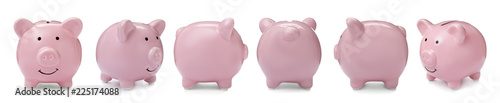 Foto Set with pink piggy bank from different views on white background