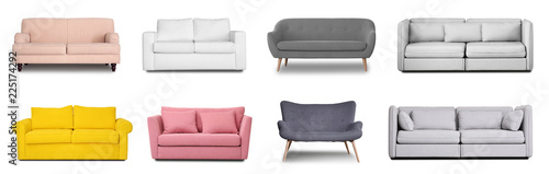 Set with different comfortable sofas on white background Fototapet