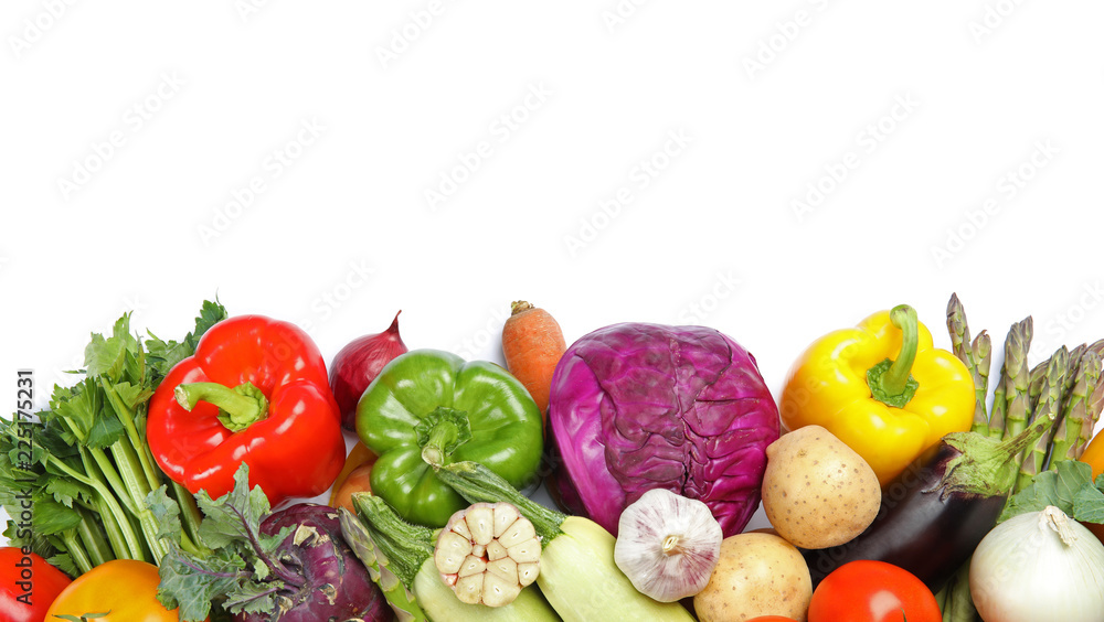 Many fresh ripe vegetables on white background, top view. Space for text