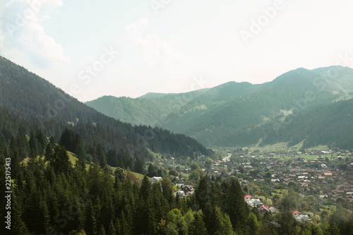 Fotobehang Wit Picturesque landscape with forest and village in mountains