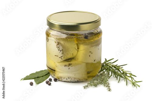 Jar with preserved white organic Dutch goat cheese and fresh herbs Canvas-taulu