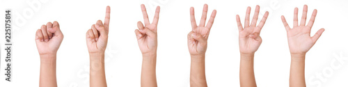 Obraz Kid Hand Isolated on White Background  : Hand Counts from Zero to Five. - fototapety do salonu