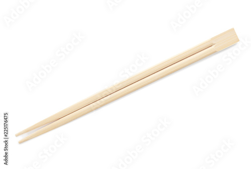 Photo  Chopsticks made of bamboo on white background, top view