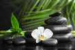 Spa stones with orchid flower and bamboo leaves on dark table