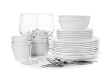 Set Of Clean Tableware On Whit...