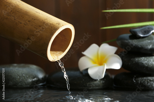 Traditional bamboo fountain with spa stones and flower, closeup. Space for text