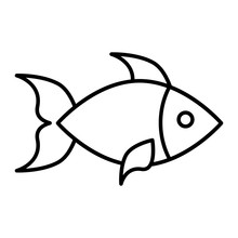 Fish Thin Line Icon. Aquatic V...