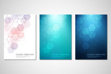 Vector Covers Or Brochure For Medicine, Science And Digital Technology. Geometric Abstract Background With Hexagons Pattern. Molecular Structure And Chemical Compounds.