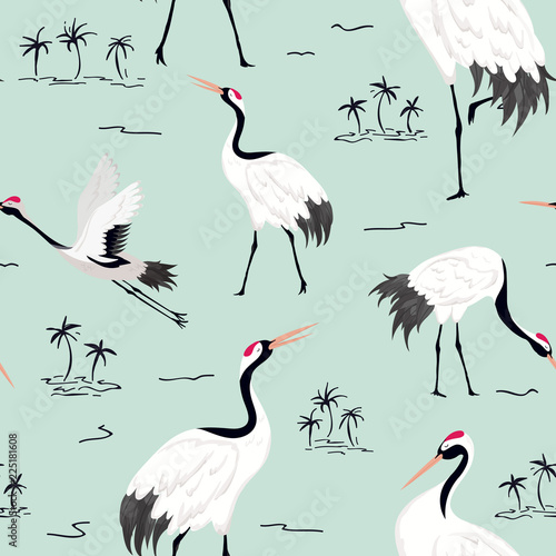 bezszwowy-wzor-z-japonskimi-zurawiami-retro-ptak-tlo-moda-druk-urodzinowy-japonski-dekoracja-set-ilustracja-wektorowa