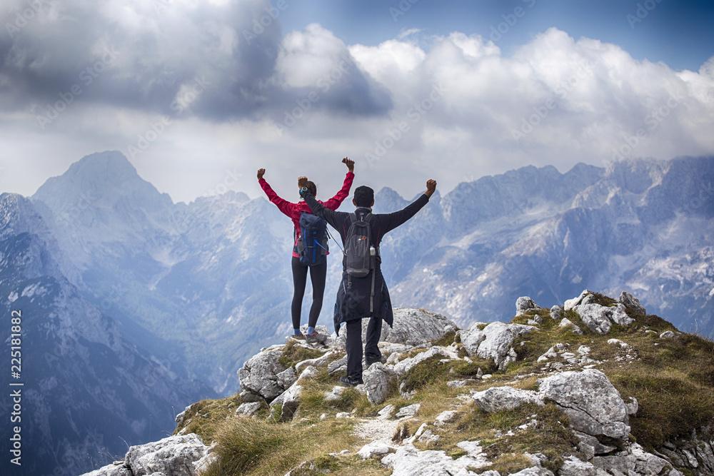 Fototapety, obrazy: Hikers in Julian Alps, Slovenia