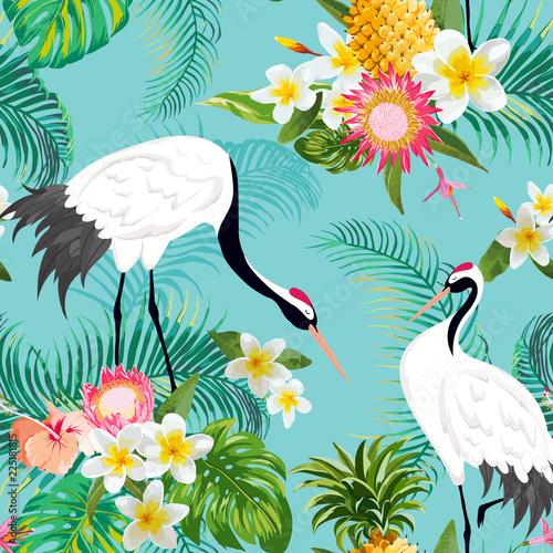 bezszwowy-wzor-z-japonskimi-zurawiami-i-tropikalnymi-kwiatami-retro-kwiecisty-tlo-moda-druk-urodzinowy-japonski-dekoracja-set-ilu