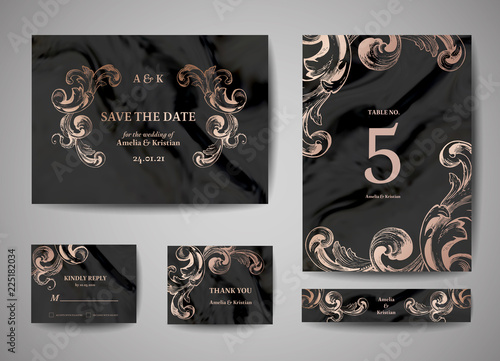 Fototapeta Luxury Vintage Wedding Save The Date Invitation Cards Collection With Gold Foil Frame And Wreath Vector Trendy Cover Graphic Poster