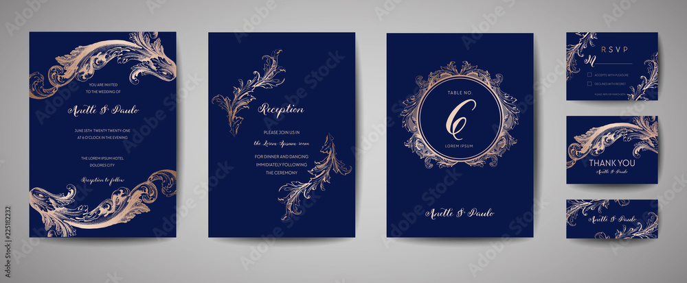 Fototapeta Luxury Vintage Wedding Save the Date, Invitation Navy Cards Collection with Gold Foil Frame and Wreath. Vector trendy cover, graphic poster, retro brochure, design template