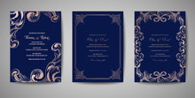 Set Of Luxury Vintage Wedding Save The Date, Invitation Navy Cards Collection With Gold Foil Frame And Wreath. Vector Trendy Cover, Graphic Poster, Retro Brochure, Design Template