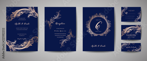 Fototapeta Luxury Vintage Wedding Save the Date, Invitation Navy Cards Collection with Gold Foil Frame and Wreath. Vector trendy cover, graphic poster, retro brochure, design template obraz