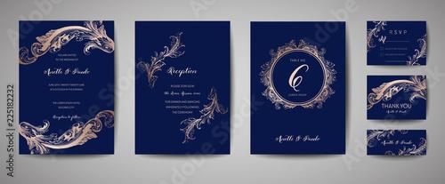 luxury vintage wedding save the date invitation navy cards