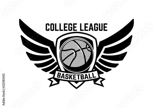 Fotografía  Basketball sport emblem with wings
