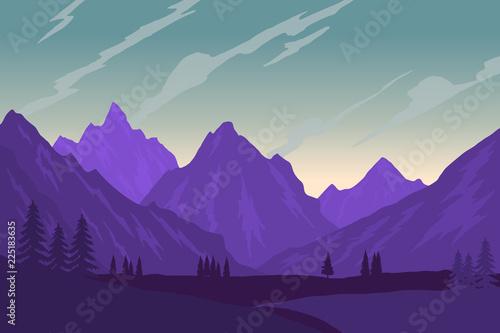 Fototapeta Illustration of mountain landscape in flat style. Design element for poster, flyer, presentation, brochure. obraz na płótnie