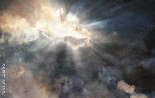 Fotografia Light beams struggling through the storm clouds
