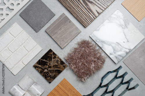 samples of material, wood , on concrete table Wallpaper Mural