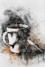 Coffee Cup With Steam Watercolor Painting On White Background,digital Art Style, Illustration Painting