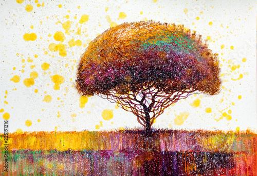 Fototapeta Tree, oil painting, artistic background obraz na płótnie