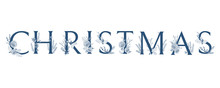 Vector Logo Christmas. Decorated Word, Typographic Composition