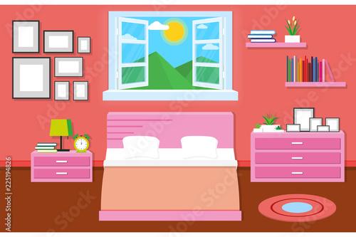 Spoed Foto op Canvas Violet interior bedroom design with furniture for decorate. vector and illustration