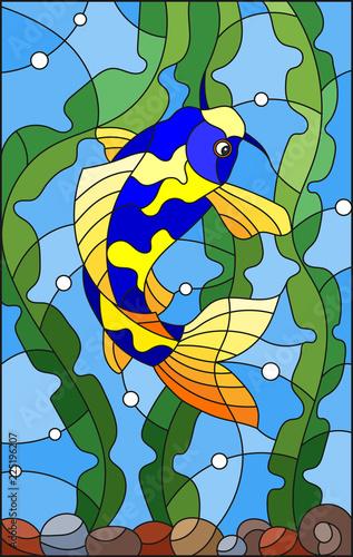 ilustracja-w-witrazu-stylu-z-jaskrawa-laciasta-ryba-na-tle