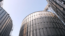 Metal Agriculture Storage Silos. Up View. Clear Blue Sky Background.