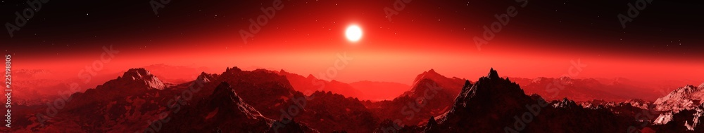 Fototapety, obrazy: Mars at sunset, sunrise over the surface of an alien planet,