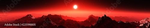 Obraz Mars at sunset, sunrise over the surface of an alien planet,  - fototapety do salonu
