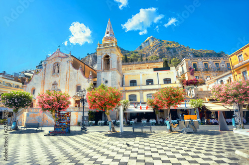 San Giuseppe Church at IX Aprile Square in Taormina. Sicily, Italy - 225198875