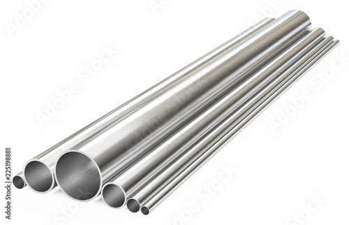 Fotografie, Obraz Steel pipes of different types, isolated on white background.