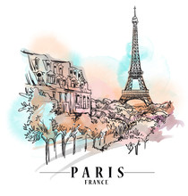 Paris Cityscape Illustration. ...
