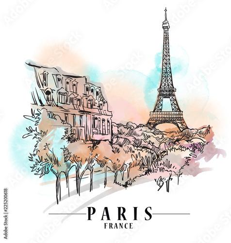 Ilustracja gród Paryż. Ręcznie rysowane grafiki. Rysowanie zabytków.