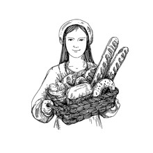 Bakery. Girl Holding A Basket Of Delicious Fresh Bread . Engraving Style. Vector Illustration