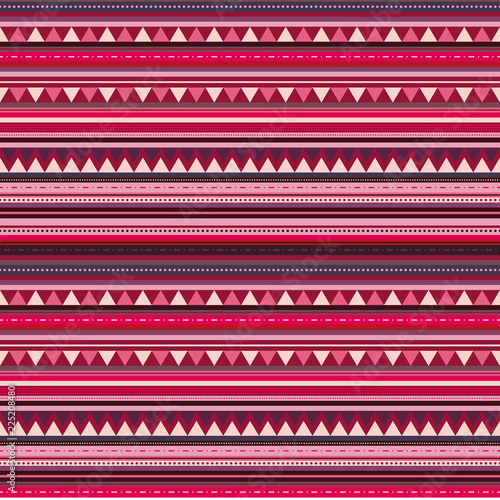 Photo  Bright hmong inspired pattern in reddish tones, seamless vector repeat