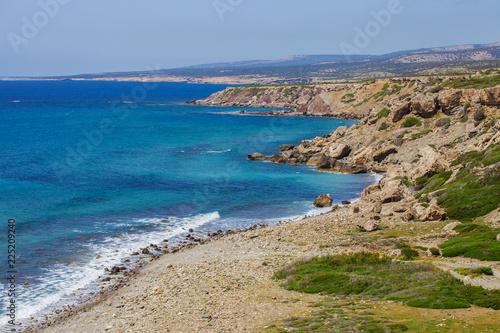 Serene view of coastline of Mediterranean sea in Cyprus