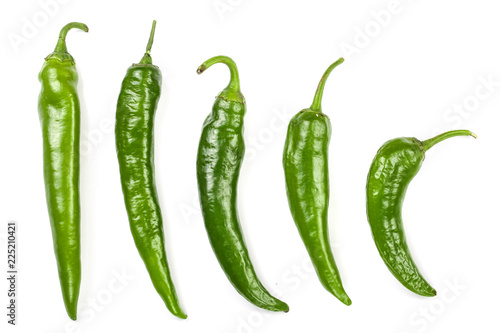 Door stickers Hot chili peppers green hot chili peppers isolated on white background. Top view. Flat lay pattern. Set or collection