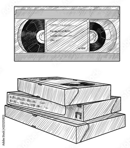 VHS video tape illustration, drawing, engraving, ink, line art, vector Canvas-taulu