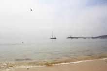 Beach In A Misty Day