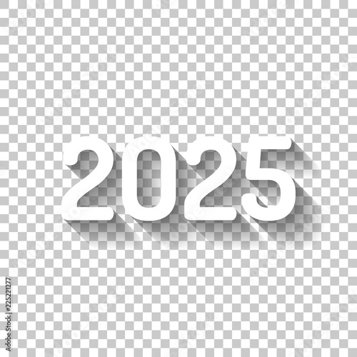 Fotografia  2025 number icon. Happy New Year. White icon with shadow on tran