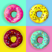 Realistic Vector Donuts In Dif...