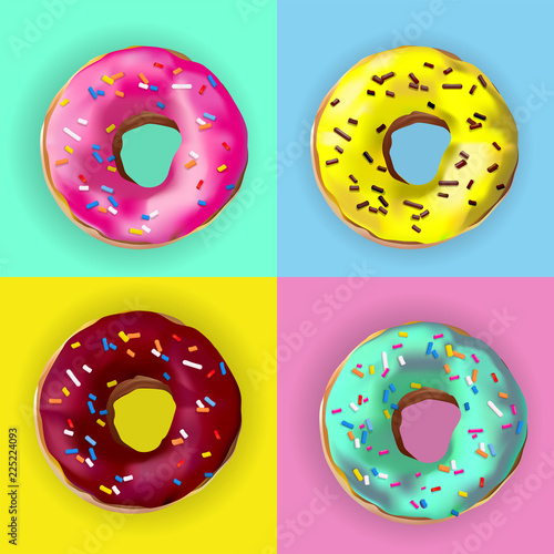 Fotografie, Obraz Realistic vector Donuts in different glazes on pop art style poster