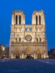 Notre-Dame de Paris Cathedral at night, France