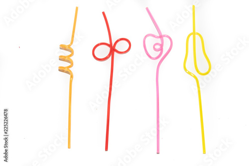 Photo Colored straws for cocktail isolated on white background