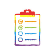Checklist Icon. Drawing Sign With LGBT Style, Seven Colors Of Rainbow (red, Orange, Yellow, Green, Blue, Indigo, Violet