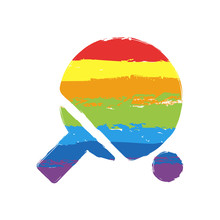 Ping Pong Icon. Drawing Sign With LGBT Style, Seven Colors Of Rainbow (red, Orange, Yellow, Green, Blue, Indigo, Violet